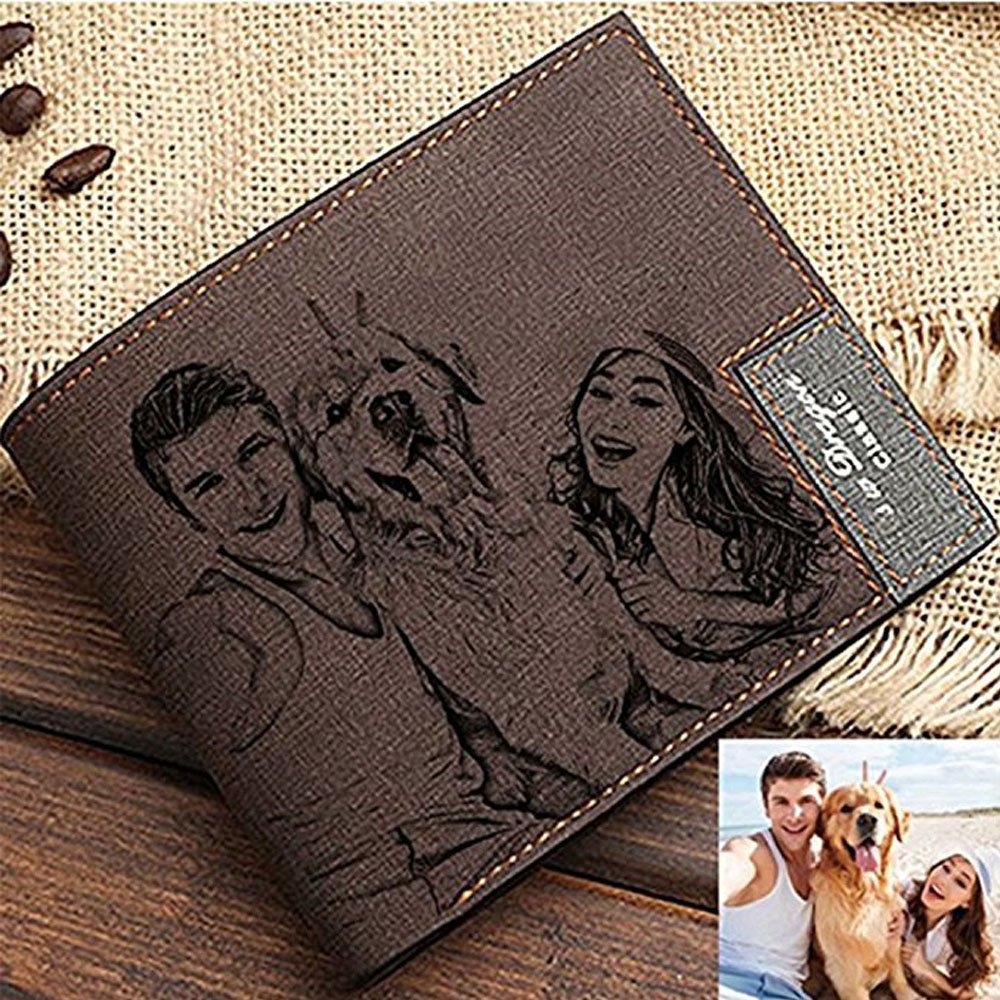 Personalized Mens Custom Photo Wallet Leather Wallet A Perfect Personalized Fathers Day Gift for Men/&Dad