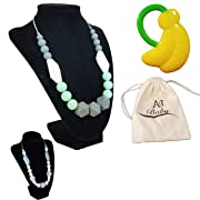ANJ Baby Teething Necklace for Mom with Bonus Baby Teether | Perfect Baby Shower Gift | 100% BPA Free Food Grade Silicone Baby Teething Beads |Stylish for Mom and Soothing for Baby …