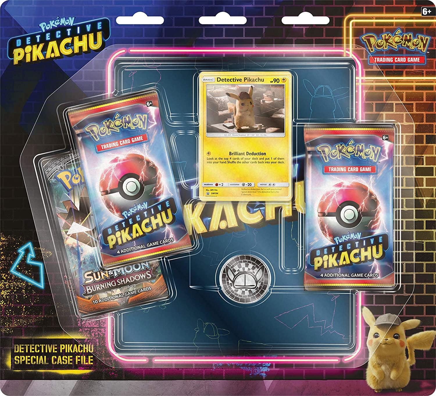 Amazon Com Pokemon 820650806278 Detective Pikachu Special Case File Tcg 3 Booster Pack Movie Binder Multicolor Toys Games