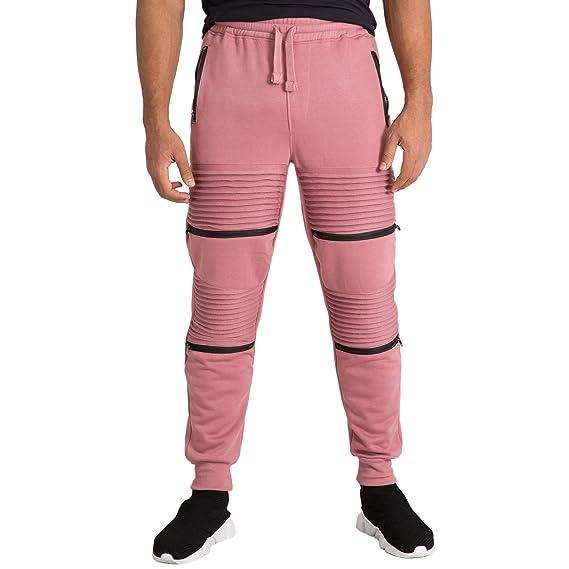 0d5e3647 Vibes Mens Fleece Jogger Pant Double Moto Patch & Zipper Knee Trim Rib Cuff  & Waist at Amazon Men's Clothing store: