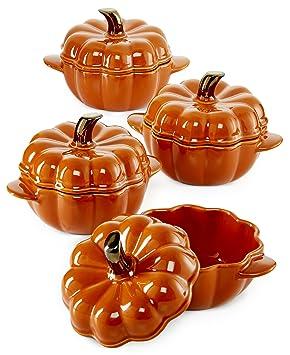 Martha Stewart Cubierta calabaza cubierto de 4 cuencos de cerámica y hogar: Amazon.es: Hogar