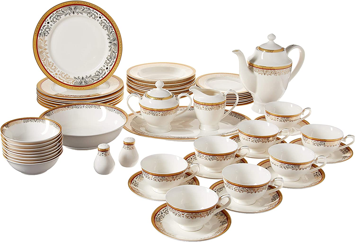 Lorren Home Trends La Luna Collection Bone China 57-Piece 24K Gold Greek Key Design Dinnerware Set, Service for 8