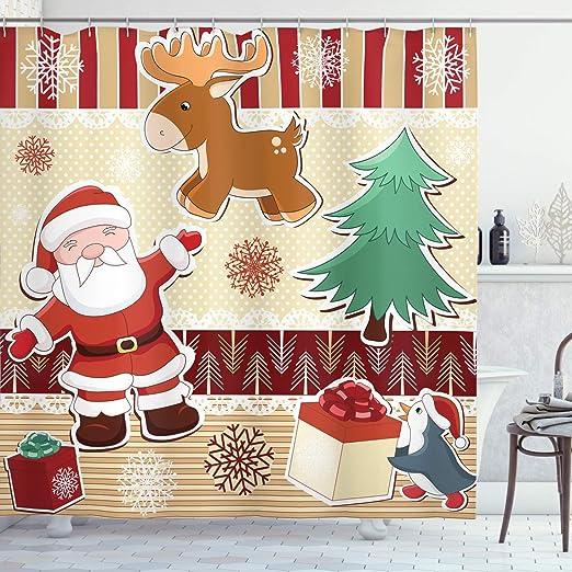 US STOCK Christmas Cute Snowman Pine Cone Waterproof Fabric Shower Curtain Hooks