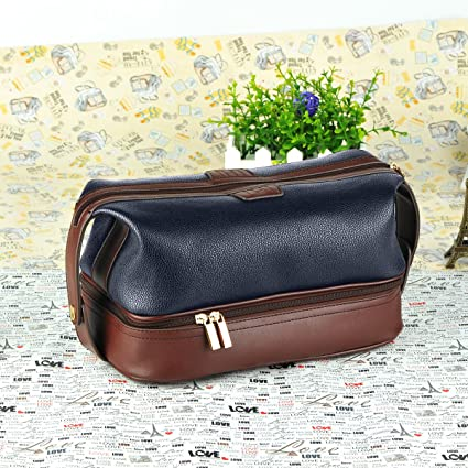 Amazon.com  Leather Toiletry Bag Travel For Men Dopp Kit. The ... 689a44d92ae74