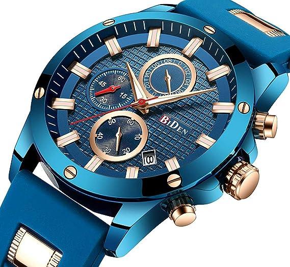 e84ea7fa86d8 Relojes Hombre Cinta de Silicona Impermeable Deportes analógico de Cuarzo  Hombres Reloj Negocios de Lujo Cronógrafo Calendario Azul Relojes Hombre   ...