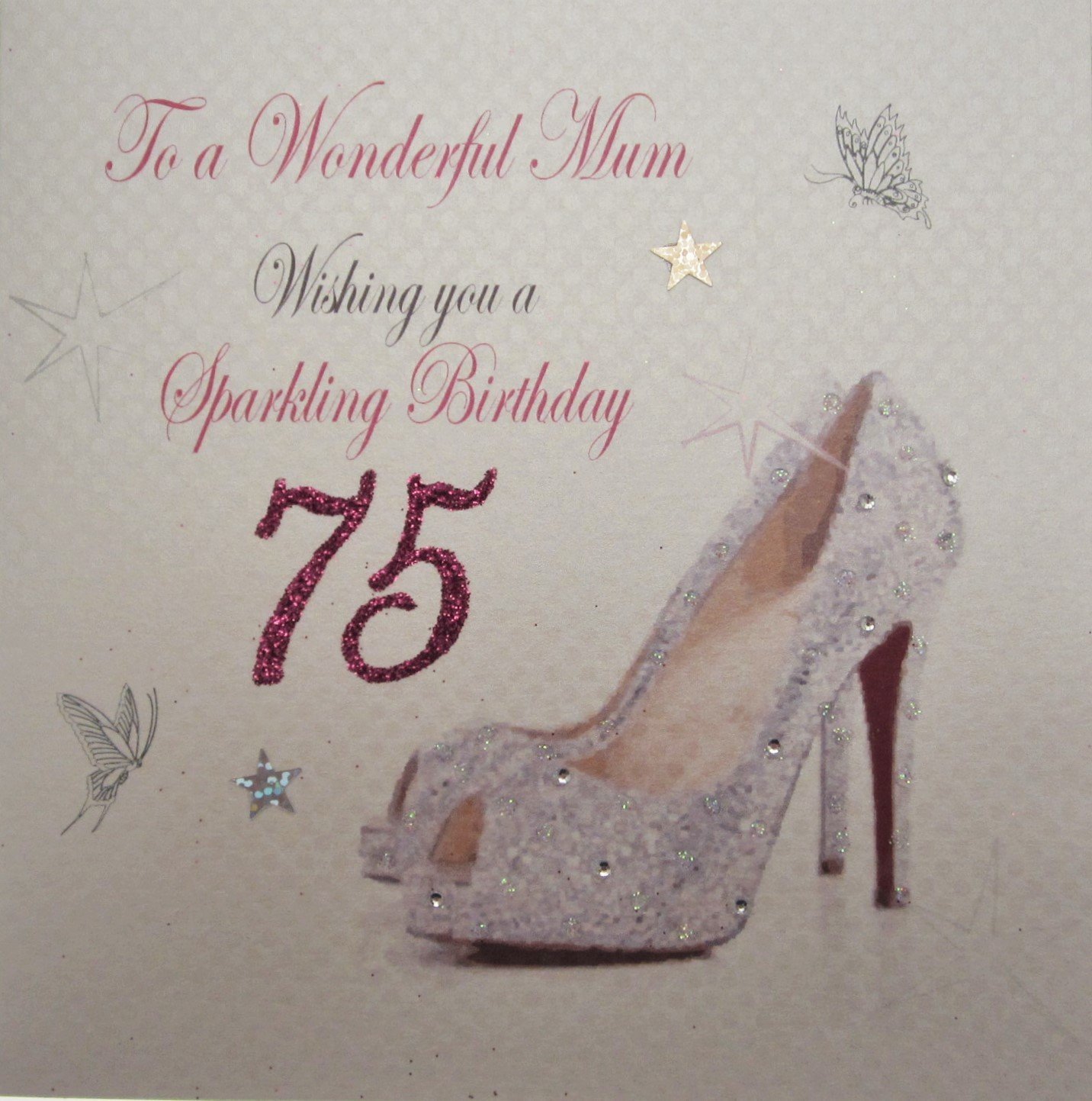 white cotton card to a Wonderful Mum Handmade 75th Birthday Card – Birthday Cards for Mum