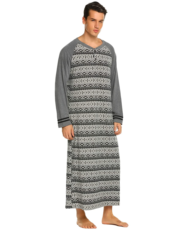 bb0fe709299 Amazon.com  Ekouaer Henley Sleepsh Cotton irt Men Nightgowns Lightweight  Long Nightshirt(PAT1