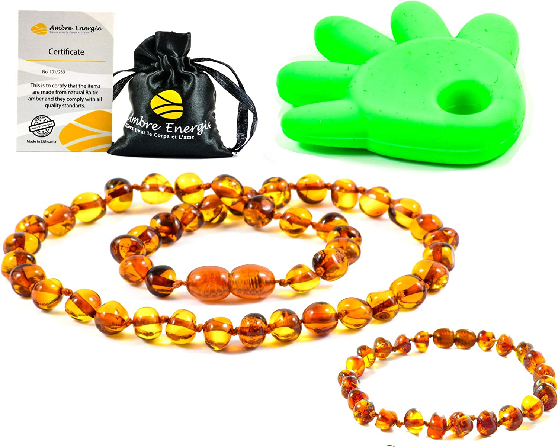 Collar de Ambar 33cm + Pulsera (14cm) - De la Máxima Calidad Certificado Genuino Collar de Ámbar Báltico/Rápido Entrega / 100 Días de Garantía de Devolución de Dinero! (Cognac)