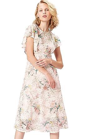 super popular 56486 ccfcb Marchio Amazon - find. Vestito Midi a Fiori Donna