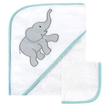 One Size Luvable Friends Unisex Baby Cotton Terry Hooded Towels Basic Elephant
