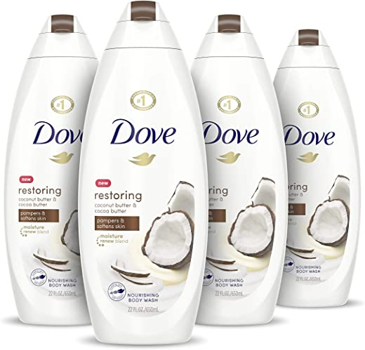 Dove Purely Pampering Body Wash for Dry Skin Coconut Butter and Cocoa Butter Effectively Washes Away Bacteria While Nourishing Your Skin 22 oz, 4…