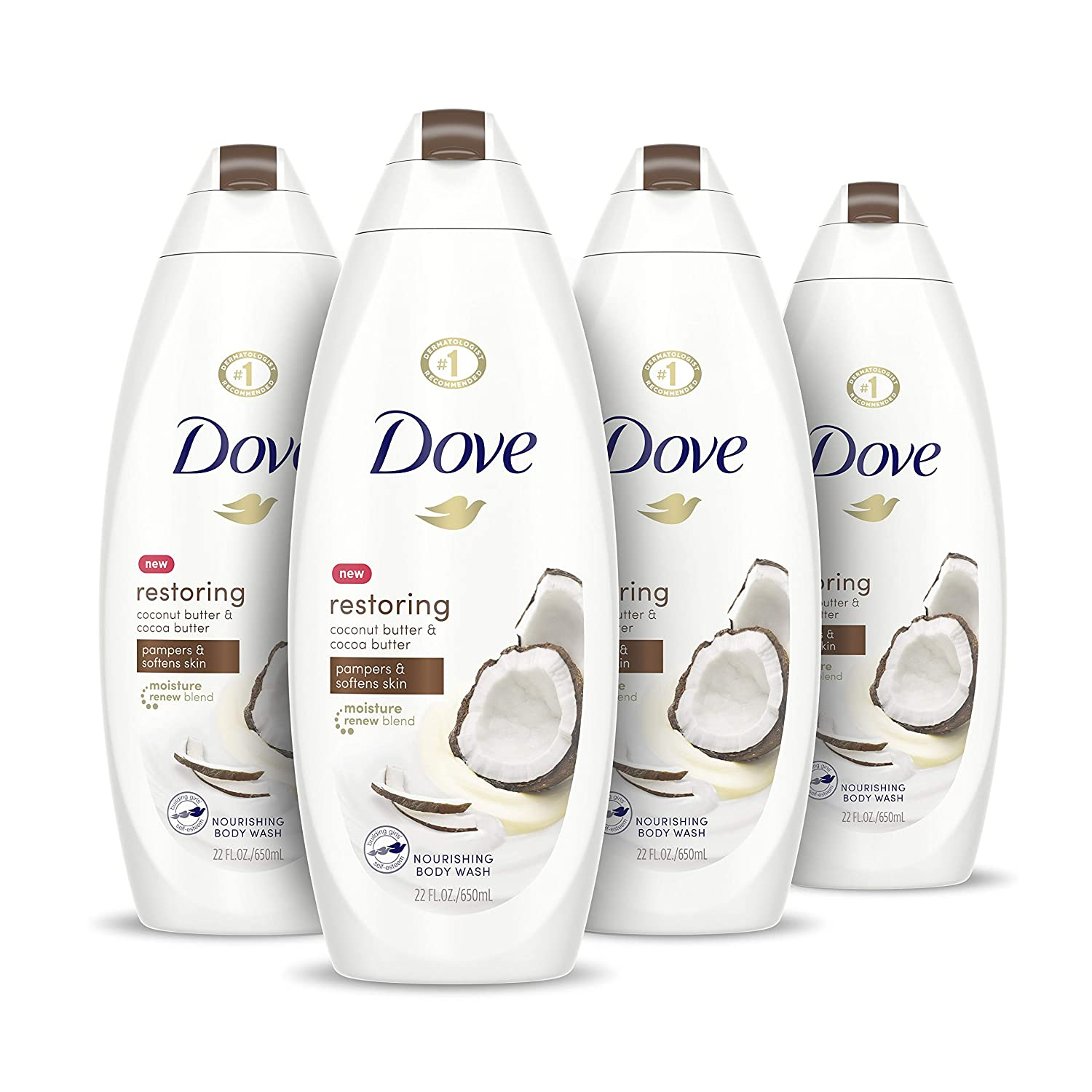 Amazon Com Dove Purely Pampering Body Wash For Dry Skin Coconut Butter And Cocoa Butter Effectively Washes Away Bacteria While Nourishing Your Skin 22 Oz 4 Count Beauty