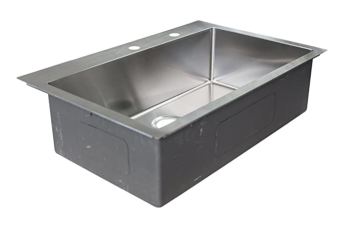 """Franke HFS3322-2 Vector 33.5"""" (33"""" Compatible) Dual Mount Single Bowl Kitchen Sink with Two Holes and Fast-in Installation System, Stainless Steel"""