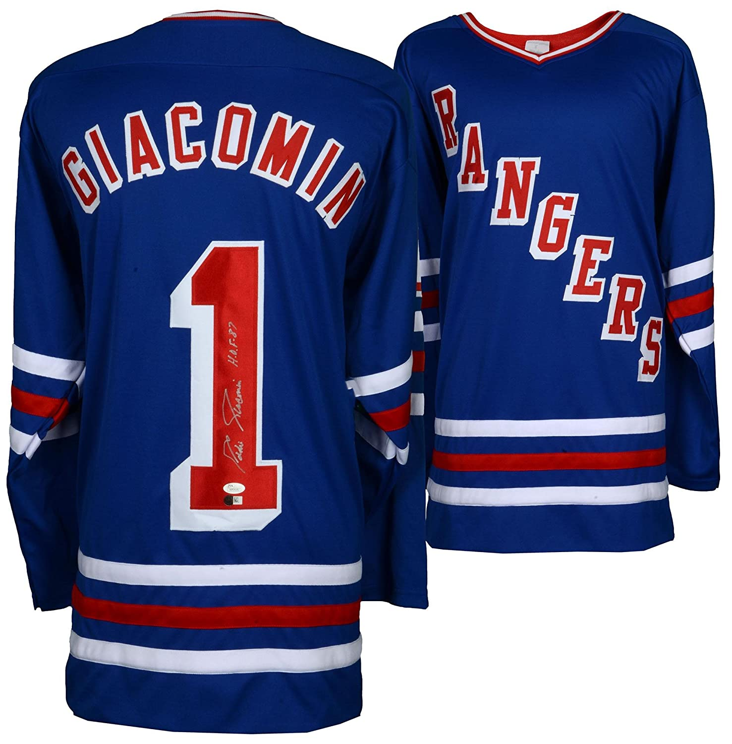 Eddie Giacomin New York Rangers Autographed Blur Jersey with HOF Inscription  - SMI - Autographed NHL Jerseys at Amazon s Sports Collectibles Store 89a5d0285
