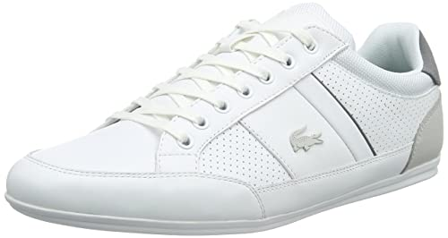 59c8ae04b Lacoste Chaymon 316 1 Mens Trainers White Grey - 9 UK  Amazon.ca ...