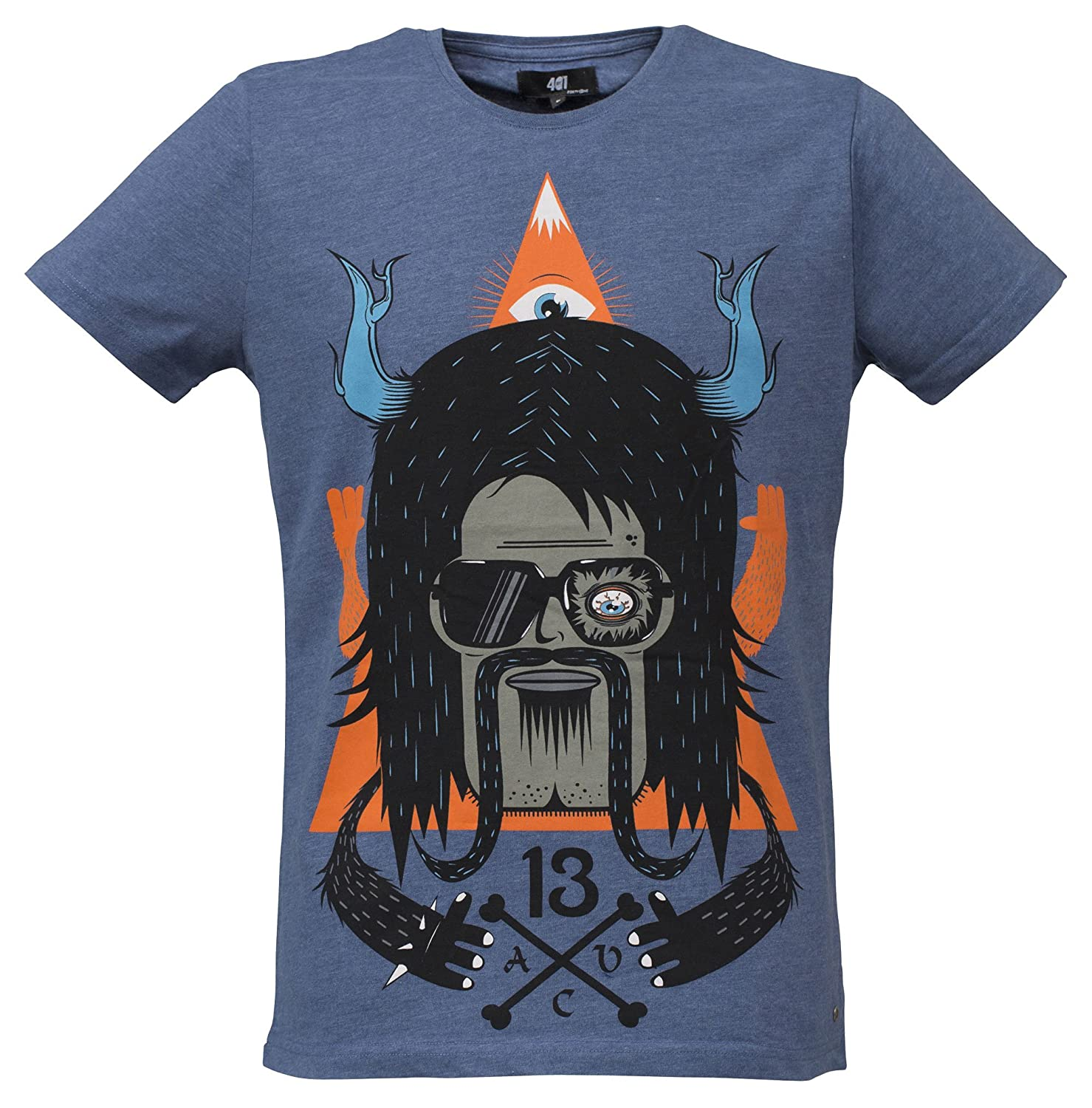 40by1, Men T-Shirt, Rocker, Rock'n'Roller, Street Couture, S/S Collection 2013, Limited Edition, blue melange, 40/1-GAS-12-006