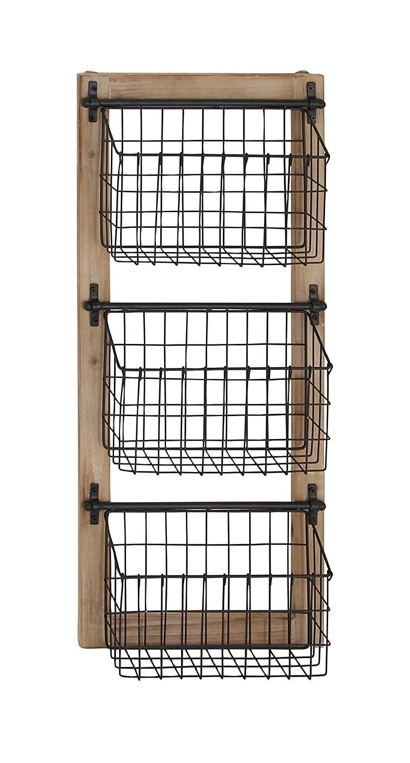 Deco 79 58646 58646 Basket Wall Rack, Brown/Black Brown/Black Uma Enterprises