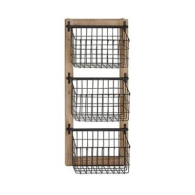 Deco 79 58646 58646 Basket Wall Rack,  Brown/Black