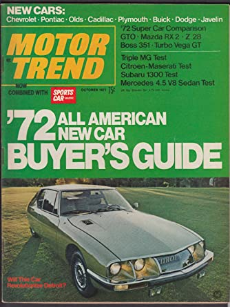 MOTOR TREND Mazda GTO Z28 Boss 351 Vega Mercedes Subaru MG road tests + 10 1971 at Amazons Entertainment Collectibles Store