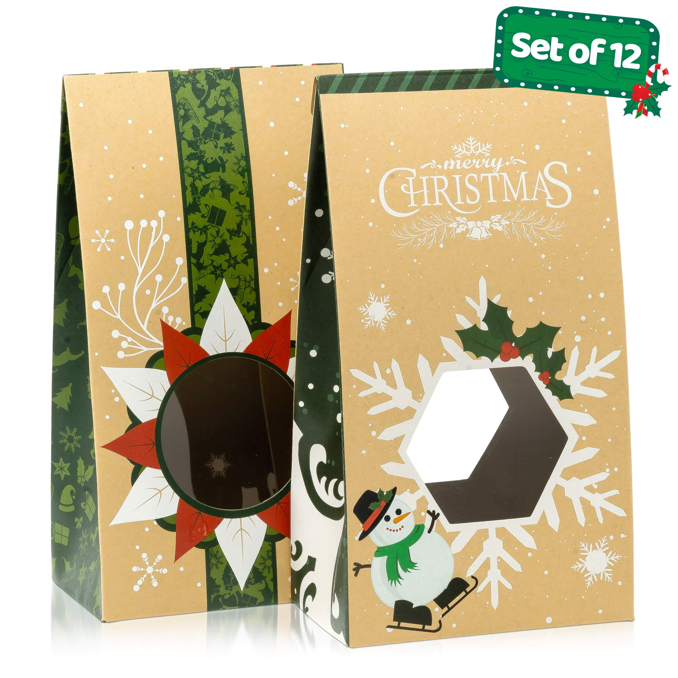 Cookie Bags For Gift Giving - Set of 12 Christmas Treat Boxes - Food Bags For Gifts - 2 Unique Decorative Treat Bags - Easy Assemble Cookie Containers - Premium Candy Boxes Packaging by Joyousa