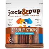 "Jack&Pup 6-Inch Premium Grade Odor Free Bully Sticks Dog Treats [Thick-Size] - 6"" All Natural Gourmet Chews Dog Treat – Fresh"