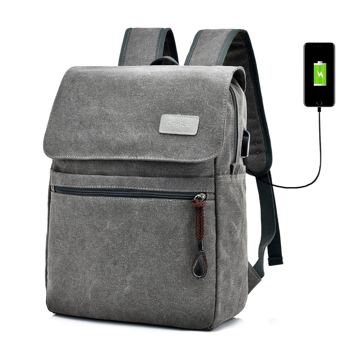 Gohyo Canvas Laptop Backpack with USB Charging Port and Compartment for Men Women, Vintage Computer Bag for Travel College School (Gray)
