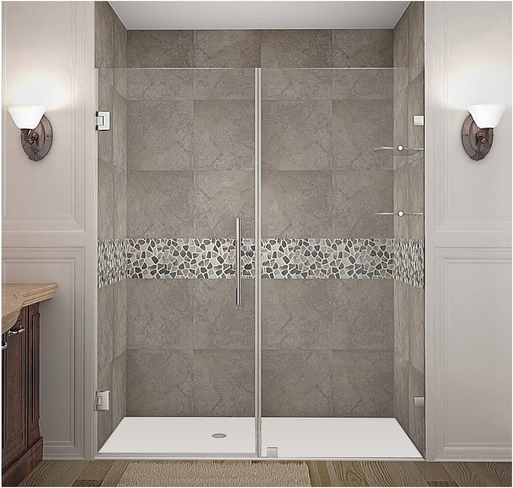 Aston Nautis GS Completely Frameless Hinged Shower Door with Glass Shelves, 65 x 72 , Brushed Stainless Steel