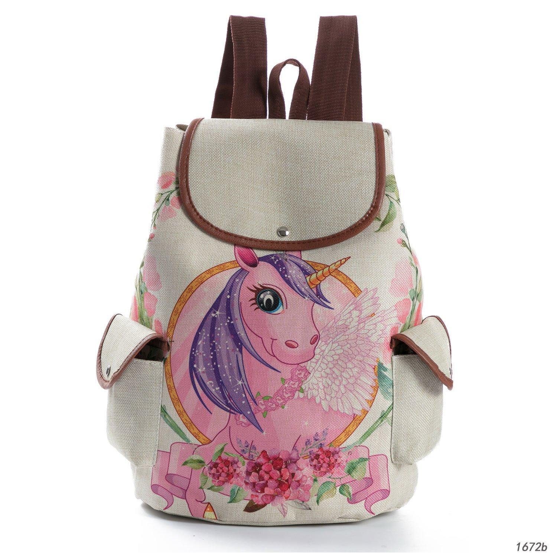 57431d8ad05 Amazon.com   ArtistMixWay Girl Unicorn Print Canvas School Backpack Women  Bookbag Casual Daypack   Kids  Backpacks