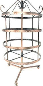 4 Tiers Copper Color Rotating 92 Pairs Earring Holder ~Necklace Organizer Stand ~ Jewelry Stand Display Rack Towers