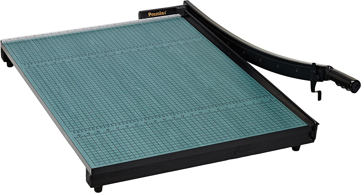 Permanent 1//2 Grid and Dual English and Metric Rulers Martin Yale 724 Premier StackCut Heavy-Duty Trimmer Green Table Size 18-1//2 x 24 Ergonomic Soft-grip Handle