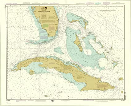 Atlantic Coast Florida Map.Amazon Com Historic Map Florida And Cuba 2012 Straits