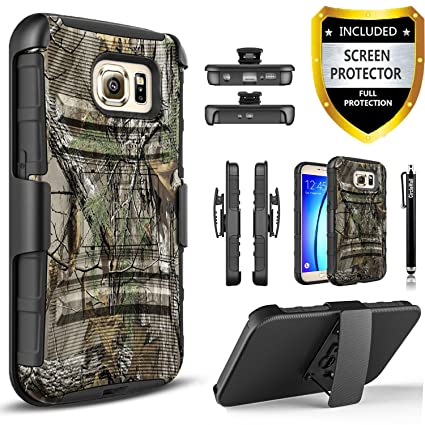 Galaxy S6 Case, [NOT FIT S6 Edge] Phone Cover Built-In Kickstand Bundled with [Premium Screen Protector] Hybird Shockproof And Circlemalls Stylus Pen ...