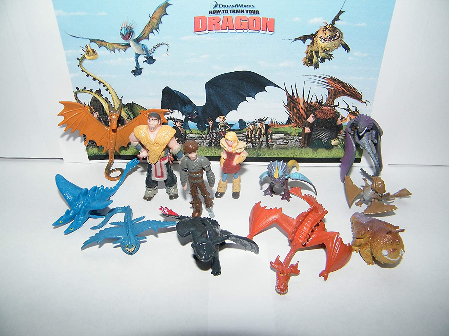 Monogram How To Train Your Dragon Figure Set of 12 Mini Toys Party Favors with many Dragons People and New Characters