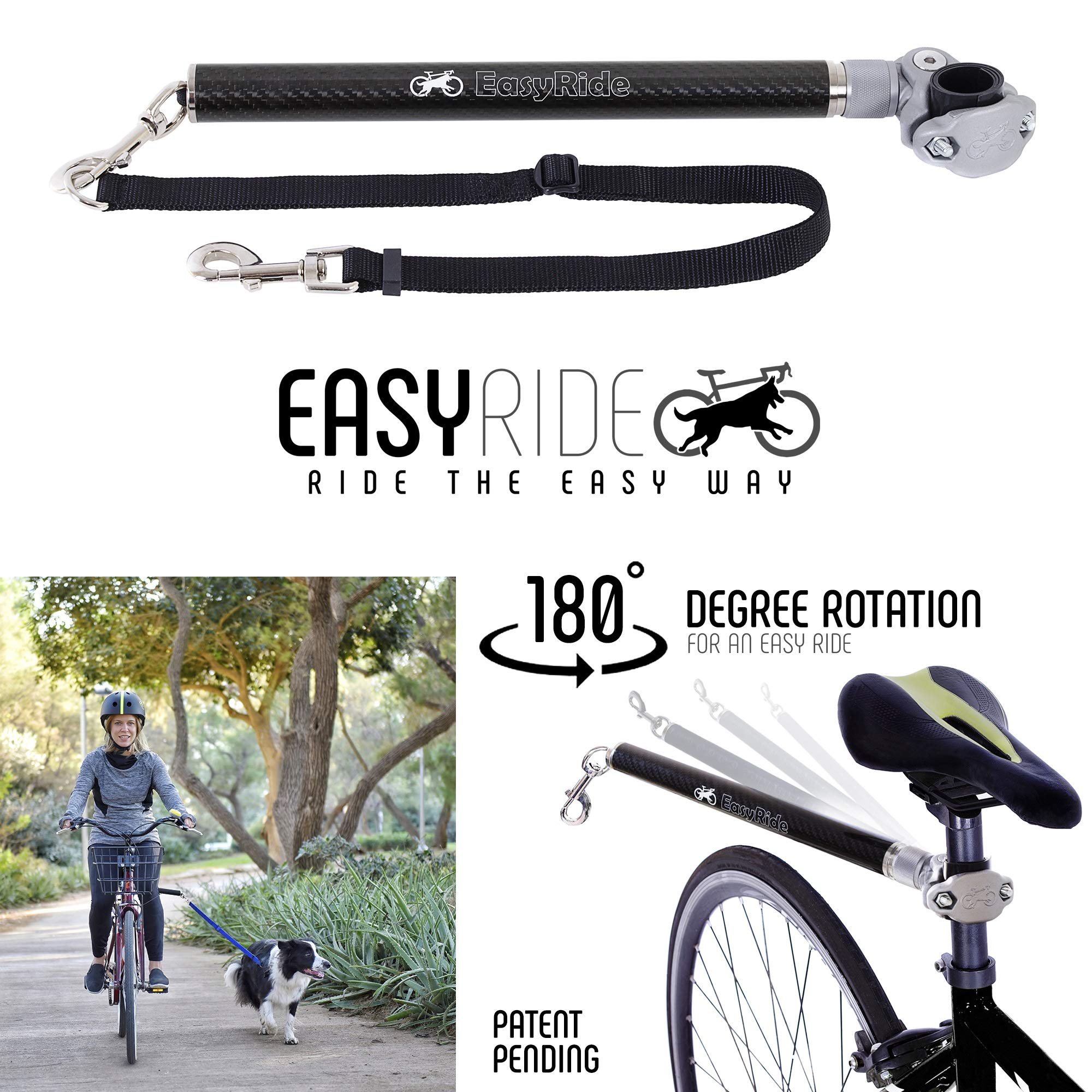 MALABI EasyRide Dog Bike Leash Set - Patent Pending Rotating with Shock Absorbers and Quick Attach Mechanism | Carbon Fiber | Hands-Free, Detachable, Adjustable Leash for The Smoothest Ride