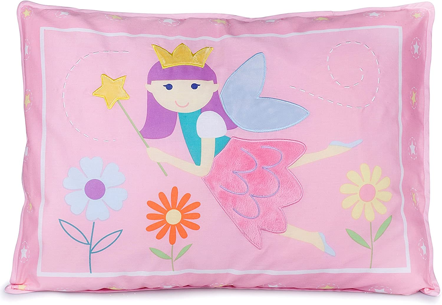 Wildkin Kids 100% Cotton Pillow Sham for Boys and Girls, Breathable Fabric, Envelope Closure, Measures 20 x 26 Inches, Fits a Standard Pillow, BPA-free, Olive Kids (Fairy Princess)