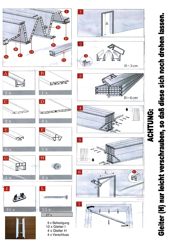 Kunststoff Faltt/ür Esche wei/ß mit 3 Fenster 88,5x202 cm doppelwandig