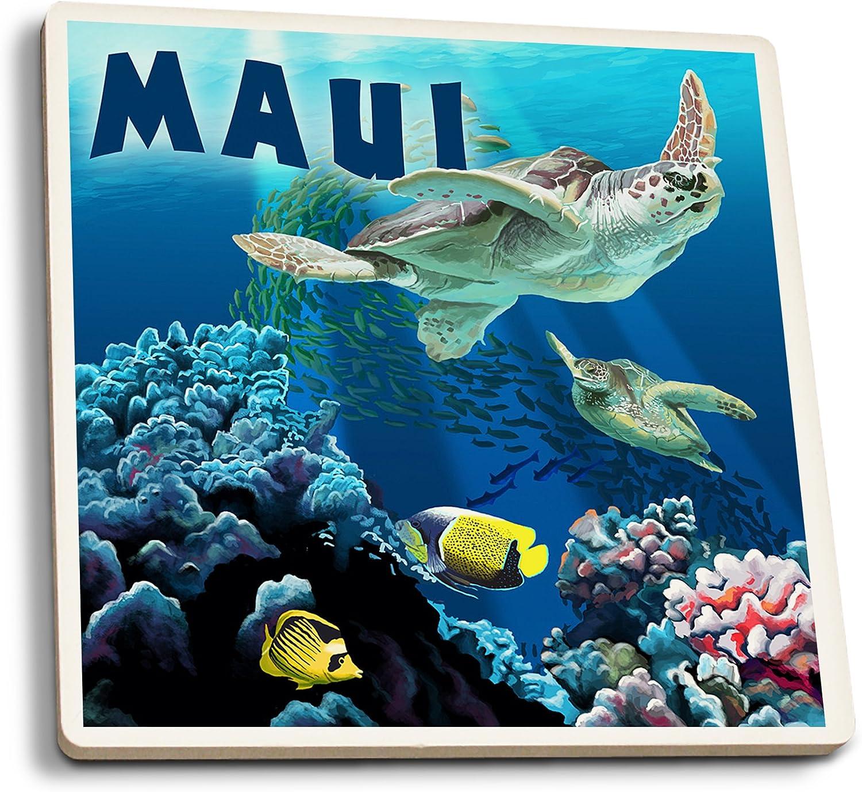 Amazon Com Lantern Press Maui Hawaii Sea Turtles Swimming Set Of 4 Ceramic Coasters Cork Backed Absorbent Wall Art