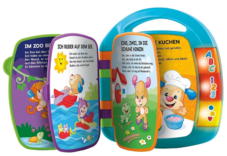 Fisher-Price CDH40 Lernspaß Liederbuch Lernspielzeug für Buchstaben Zahlen und Formen, ab 6 Monaten deutschsprachig, blau Mattel Fisher-Price