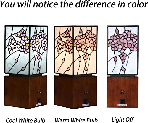 Bieye L10725 Cherry Blossom Tiffany Style Stained Glass Accent Table Lamp Night Light