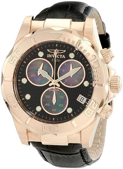 e5f356647 Invicta Men's 1723 Pro Diver Elite Chronograph Black Leather Watch:  Amazon.ca: Watches
