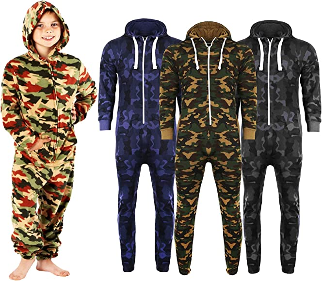 Boys Kids Girls Camouflage Not Gerber ALL IN ONE Hooded Onesie Jumpsuit Playsuit