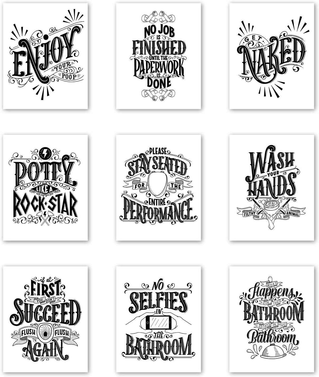 Palace Learning Funny Bathroom Decor - Set of 10 Bathroom Quotes and Sayings  - Double Sided - Wall Art Prints - Toilet Humor - Unframed (CARDSTOCK, 10 x