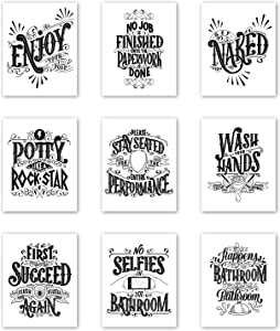 Palace Learning Funny Bathroom Decor - Set of 9 Bathroom Quotes and Sayings - Double Sided - Wall Art Prints - Toilet Humor - Unframed (CARDSTOCK, 8 x 10)
