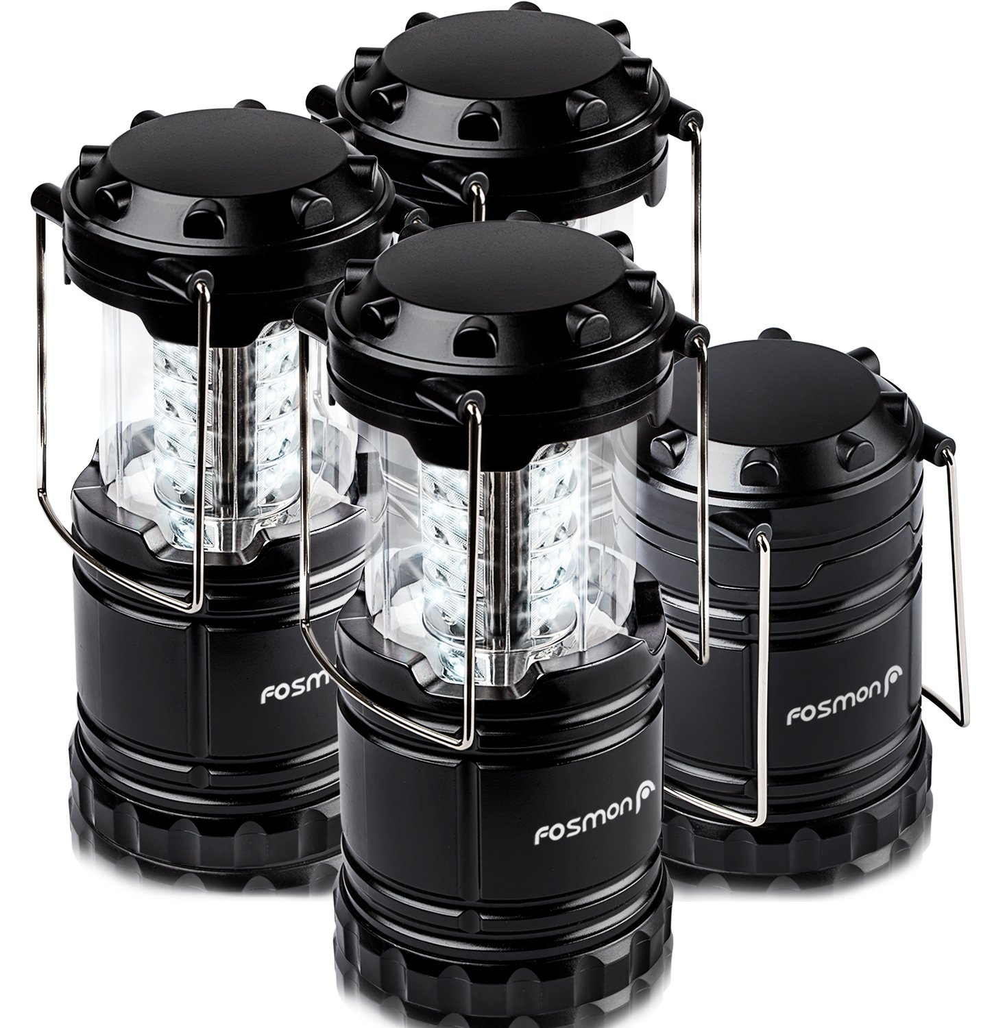 LED Lantern 4 Pack, Fosmon Portable Outdoor LED Collapsible Camping Lantern, Military Graded and Water Resistant with 12x AA Batteries - Black