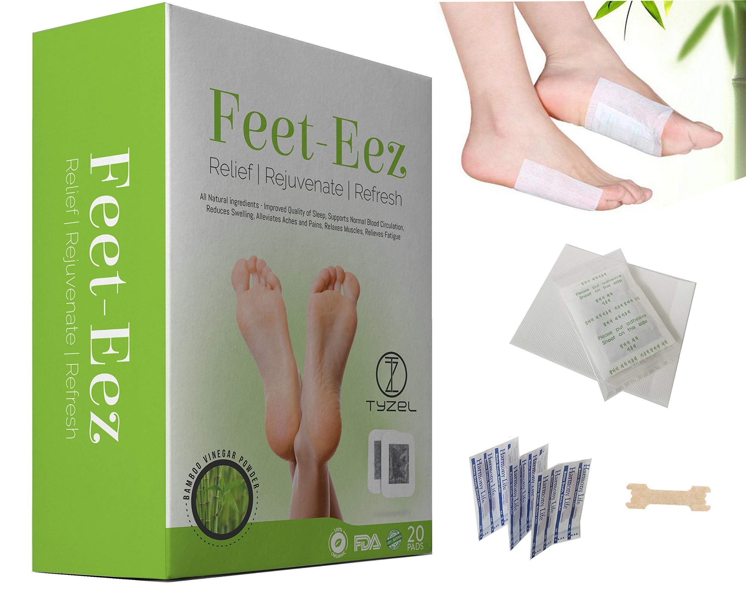 Foot Pads - 20 Pack with Bonus 10 Nasal Strips All Natural Pain Relieving Bamboo Vinegar Patches for Reducing Stress, Removing Impurities, Revitalizing and Renewing The Body