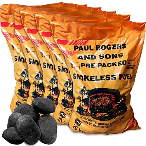 100kg of Smokeless Ovals Long Lasting Coal for Open Fires and Multi Fuel Log Burners & Tigerbox Safety Matches.