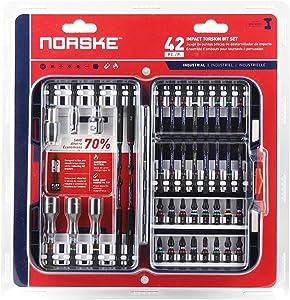 Norske Tools NIBPI703 42Piece Impact Torsion Screwdriver Bit Set