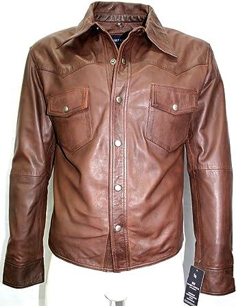 Boots And Leather Hombre Marron Bronceado Camisa Chaqueta de Cuero Real de napa Suave (UK M/EU 50): Amazon.es: Ropa y accesorios
