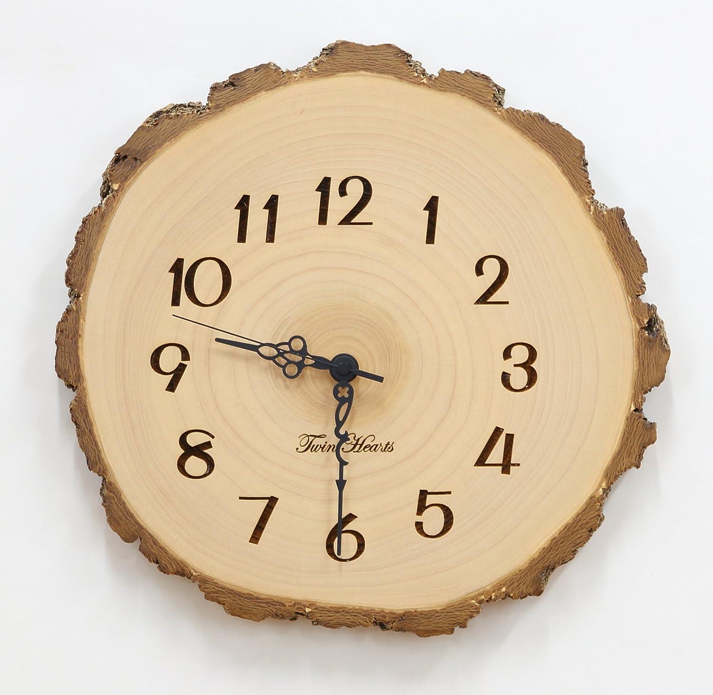 天然木 銀杏(いちょう) 年輪 電波 掛時計 [L] №368 B07D75XXFR