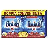 Finish All in 1 Max Pastiglie Lavastoviglie, Limone, 2 confezioni con 36 + 6 Tabs